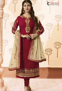 Ayesha Takia Red Georgette Embroidered Straight Churidar Suit - 028