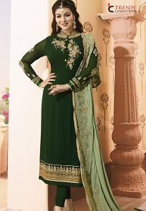 Ayesha Takia Green Georgette Embroidered Straight Churidar Suit - 029