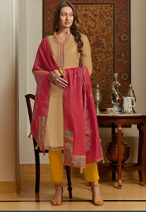 Beige Muslin Straight Embroidered Trouser Suit - 1001