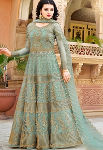 Pastel Blue Net Heavy Embroidered Lehenga Anarkali Suit - 10034