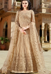 Beige Net Heavy Embroidered Lehenga Anarkali Suit - 10035