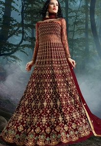 Maroon Net Heavy Embroidered Wedding Anarkali Suit - 10037