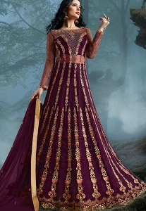Purple Net Heavy Embroidered Wedding Anarkali Suit - 10039