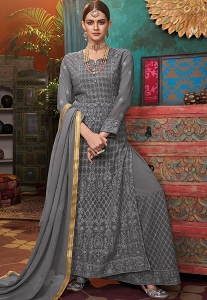 Grey Georgette Embroidered Side Slit Straight Suit - 1005