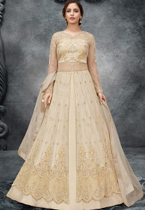 Cream Net Embroidered Long Anarkali Lehenga Style Suit - 10052