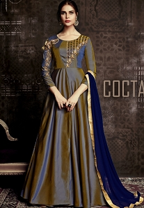 Navy Blue Tafetta Silk Readymade Anarkali Suit - 1009