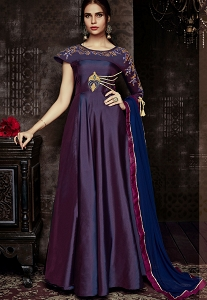 Purple Tafetta Silk Readymade Anarkali Suit - 1012