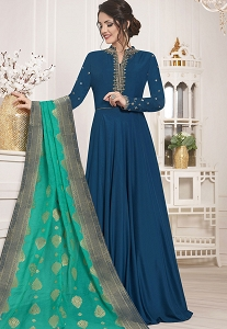 Blue Muslin Silk Gown Style Anarkali Suit - 10131