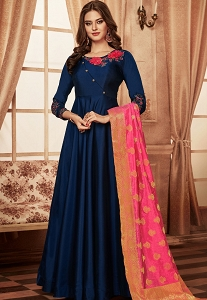 Navy Blue Tapeta Silk Readymade Long Anarkali Gown - 1026