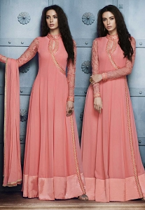 Pink Georgette Floor Length Anarkali Suit - 1042B