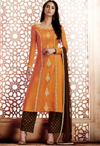 Orange Silk A-line Trouser Style Suit - 1043A