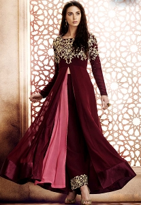 Wine Georgette Long Trouser Style Anarkali Suit - 1045A