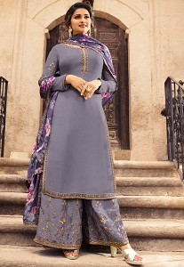 Prachi Desai Grey Satin Georgette Embroidered Palazzo Suit - 10865