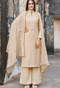 Beige Muslin Straight Palazzo Suit - 1102