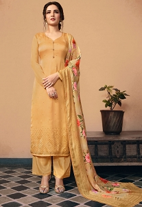 Shine Gold Satin Georgette Straight Trouser Suit - 11041