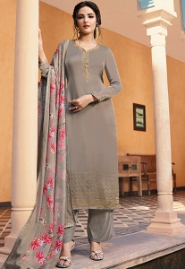 Dull Grey Satin Georgette Straight Trouser Suit - 11044