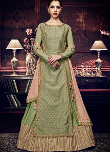 Pista Green Georgette Floor Length Anarkali Suit - 11053