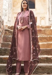 Mauve Muslin Straight Trouser Suit - 1129