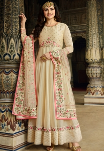 Prachi Desai Cream Art Silk Anarkali Suit - 11761