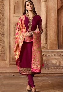 Wine Georgette Embroidered Straight Churidar Suit - 12080