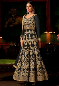 Gauhar Khan Black Georgette Long Anarkali Suit - 12148