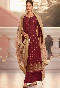 Maroon Jacquard Embroidered Straight Palazzo Suit - 1215