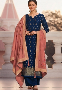 Blue Jacquard Embroidered Straight Palazzo Suit - 1221