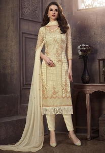 Cream Organza Straight Embroidered Suit - 1233