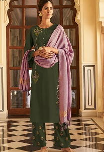 Green Viscose Straight Embroidered Palazzo Suit - 124