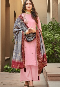 Pink Art Silk Khatli Embroidered Palazzo Suit - 1404