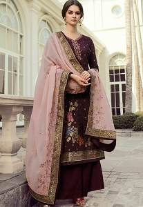 Dark Wine Viscose Dola Silk Straight Palazzo Suit - 1423