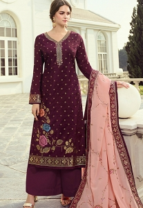 Wine Viscose Dola Silk Straight Palazzo Suit - 1425