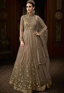 Grey Shade Net Embroidered Floor Length Anarkali Suit - 15008