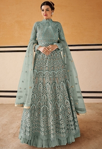 Blue Shade Net Resham Embroidered Long Anarkali Suit - 15201