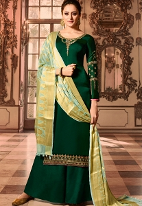Dark Green Satin Georgette Embroidered Pakistani Palazzo Suit -16005