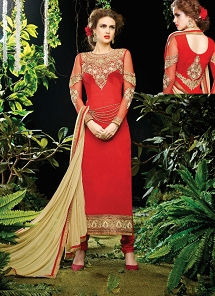 Haute Red Georgette Embroidered Straight Churidar Suit