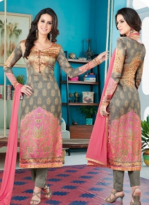 Grey & Pink Satin Digital Printed Pant Style Suit 1604
