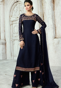 Blue Satin Georgette Straight Palazzo Style Suit - 16101