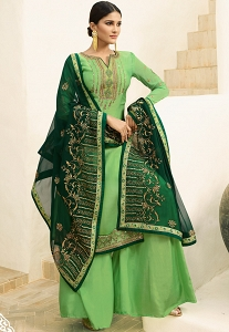 Light Green Satin Georgette Embroidered Sharara Style Pakistani Suit - 16203