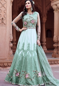 Sea Green Net Embroidered Floor Length Anarkali Suit - 1621
