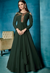 Green Georgette Long Anarkali Suit - 164