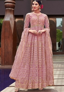 Pink Net Embroidered Long Anarkali Suit - 1642