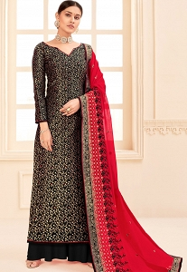 Black Art Silk Long Straight Palazzo Suit - 17207