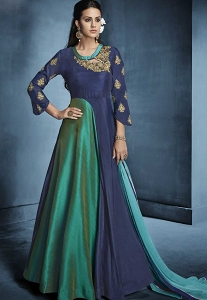 Blue & Green Silk Long Readymade Gown - 178