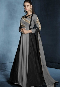 Grey & Black Silk Long Readymade Gown - 179