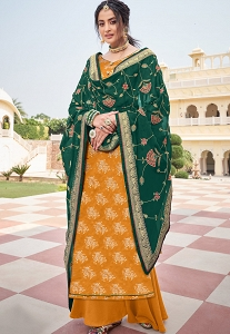 Orange Art Silk Long Straight Palazzo Suit - 18005
