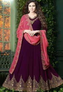 Purple Georgette Floor Length Designer Anarkali Suit - 20007