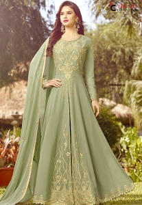 Pastel Green Soft Georgette Long Embroidered Anarkali Suit - 20017