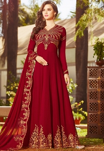 Red Georgette Embroidered Floor Length Anarkali Suit - 20025