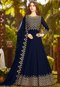 Navy Blue Georgette Embroidered Floor Length Anarkali Suit - 20032